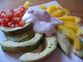 Carpaccio d'Avocat aux Tomates & Poivrons