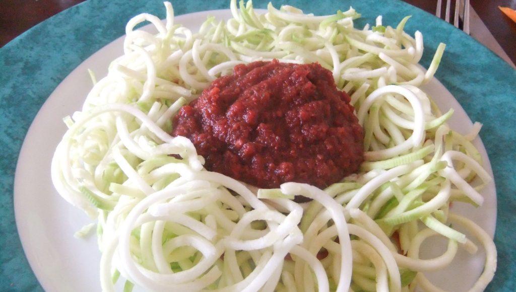 Spaghettis Crus Sauce Betterave