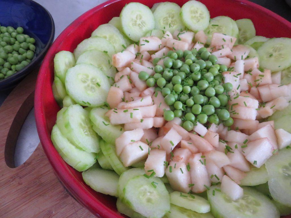Salade de Concombres, Pommes et Basilic