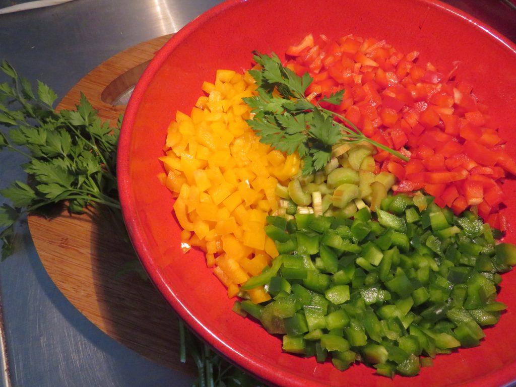 Salade Rhubarbe Poivron à la Coriandre